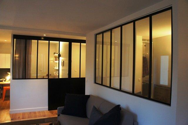 Porte coulissante atelier d 39 artiste vitr e et en acier 1 - Prix d une verriere interieure ...
