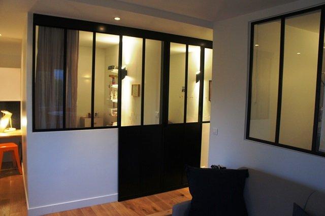 Porte coulissante atelier d 39 artiste vitr e et en acier 1 - Porte fenetre style atelier ...