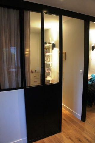 Porte coulissante atelier d 39 artiste vitr e et en acier 1 for Prix cloison coulissante