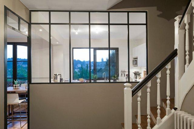 Porte coulissante atelier d 39 artiste vitr e 1 vantail ou for Monter une cloison avec verriere