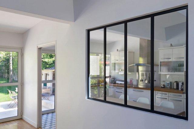 Verri re et cloison vitr e atelier d 39 artiste finition peinture couleur thermolaqu e - Garage de l agiot la verriere ...