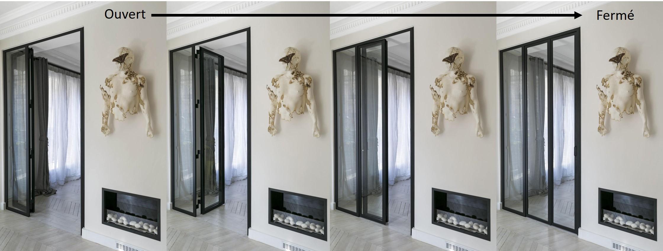 porte coulissante atelier d 39 artiste vitr e et en acier 1. Black Bedroom Furniture Sets. Home Design Ideas